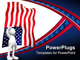 powerpoint template 3d human stands and salute the american flag