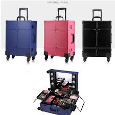 professional makeup trunk trolley makeup box with lights professional beauty station