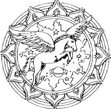 Coloriage Mandala licorne à imprimer sur COLORIAGES info