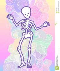 kawaii halloween background kawaii funny spooky skeleton over cloud pattern halloween backg