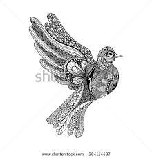 vector doves hand drawn dove peace stock vector 393882595
