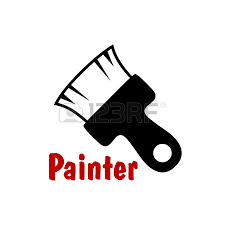 painting icons with a brush and dripping tin of paint for