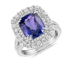 tanzanite blue rings images Cushion shaped tanzanite and diamond halo cocktail ring in 18k