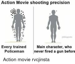Bing Meme - action movie shooting precision posts every trained main character