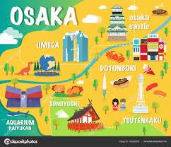 Osaka Train Map Osaka Map With Colorful Landmarks Japan Illustration Design