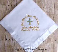 christening blanket personalized personalized baby christening blanket baptism cross satin trim