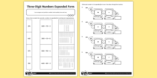 numbers in expanded form three digit numbers in expanded form activity sheet number