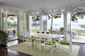 White And Green Hollywood Regency Dining Room With Quadrille - Regency dining room
