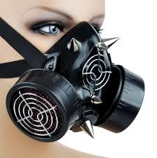 Gas Mask Halloween Costume Cyber Goth Rave Gas Mask Spike Dual Respirator Zombie Halloween