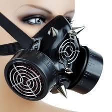Halloween Costume Gas Mask Cyber Goth Rave Gas Mask Spike Dual Respirator Zombie Halloween