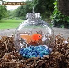 fish bowl ornament goldfish with blue stones