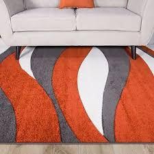 Modern Orange Rug Interesting Orange And Grey Rug Peachy Terracotta Curve Waves