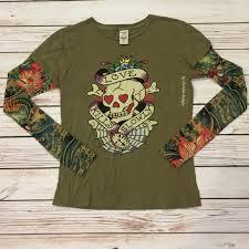 ed hardy ed hardy skull design sleeves sz m green from