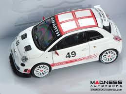 Fiat 500 Abarth White Fiat 500 Abarth Assetto Corse Die Cast Model White 1 24 Scale