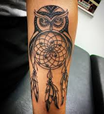 black ink owl dreamcatcher tattoo design for forearm