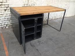 bureau industriel bois et metal bureau bois metal finest grand etabli industriel bureau metal et