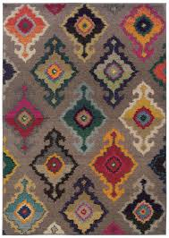 modern gray multi color ikat style rug woodwaves