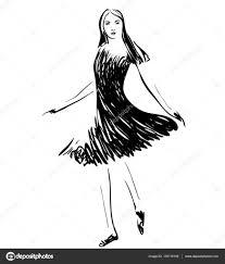 fashion models in the dress sketch u2014 stock vector yuliia25