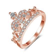 girls golden rings images Qutool tiara princess rose golden queen shape ring jpg