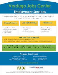 Calljobs Verdugo Jobs Center City Of Glendale Ca