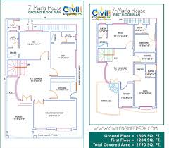 Floor Plan With Elevation by 7 Marla House Plans Civil Engineers Pk