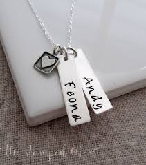 Stamped Name Necklace Name Necklace Two Names Personalized Necklace Hand Stamped