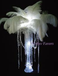 Feather Vase Centerpieces by Diy Charming Ostrich Feather Centerpiece With Crystal Garland