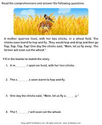 reading comprehension sparrow worksheet turtle diary