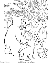 printable christmas coloring pages animals
