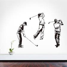 online buy wholesale golf wall murals from china golf wall murals three golfers self adhesive vinyl sketch portrait wall mural golf sport wall sticker boys bedroom diy