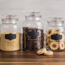 clear glass canisters for kitchen ksp quality chalkboard glass canister with lid set of 3 clear
