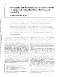 synergistic anti newcastle disease virus activity of pokeweed