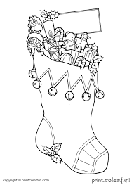 christmas stocking coloring page print color fun