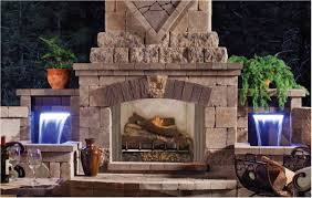 stone outdoor fireplace living wall seasons landscaping home