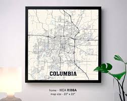 columbia missouri map columbia mo etsy