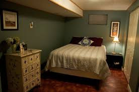 Laminate Flooring For Basement Dark Green Accents Wall Paint Of Small Basement Bedroom Ideas Feat