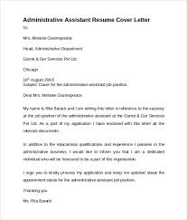 Resume Cover Letter Samples For Administrative Assistant Job by Administrative Assistant Cover Letter 9 Free Samples Examples