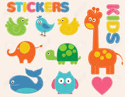 vector colorful animals set stickers for kids royalty free