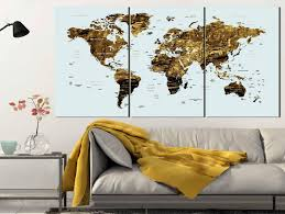 World Map Canvas Gold Color Map Art World Map Canvas Art World Map Wall Art Large