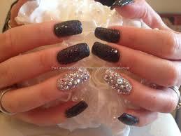 sparkling black and silver color nail paint black acrylic nail art