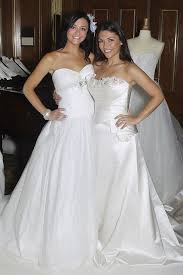 deanna pappas and holly durst try on wedding dresses