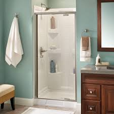 delta mandara 36 in x 66 in semi frameless pivot shower door in