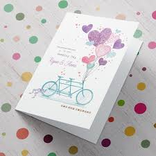 Congratulations Marriage Card Personalised Wedding Card Tandem Bike From 99p
