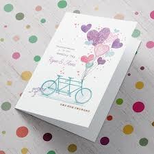 Congratulations Wedding Card Personalised Wedding Card Tandem Bike From 99p