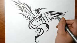how to draw a phoenix bird tribal tattoo design style youtube