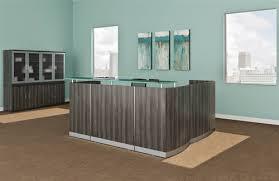 L Reception Desk Medina Gray Steel L Shaped Reception Desk With Storage Pedestals
