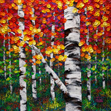 colourful autumn fall birch and aspen tree painting by