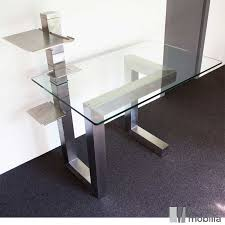 Bureau Verre Design Contemporain - bureau de direction design en verre et inox brossé essentia mobilia