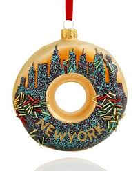 glass new york city donut ornament created for