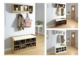 hallway storage bench u0026 wall storage shelf rack with coat hooks